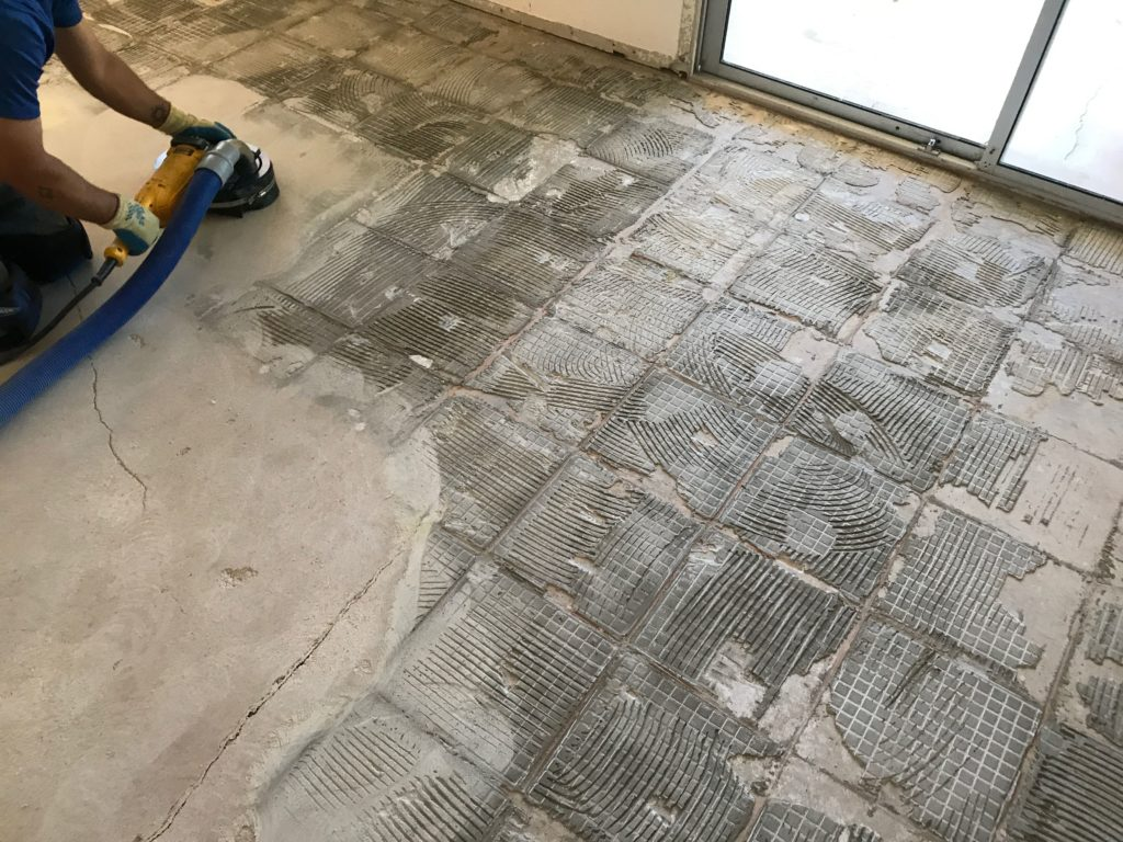 subfloor after grinding thinset